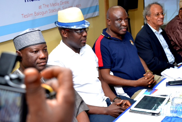 From L-R; Mr. Tunde Kazeem: Badminton Federation of Nigeria, Mr. Frank Orbih: Chairman, Lagos State Badminton Association, Mr. Oluseyi Whenu: Permanent Secretary, Office of Sports, Ministry of Youth Sports and Social Development, Mr. Fatal Williams: 2nd Vice President, Nigeria Olympic committee.