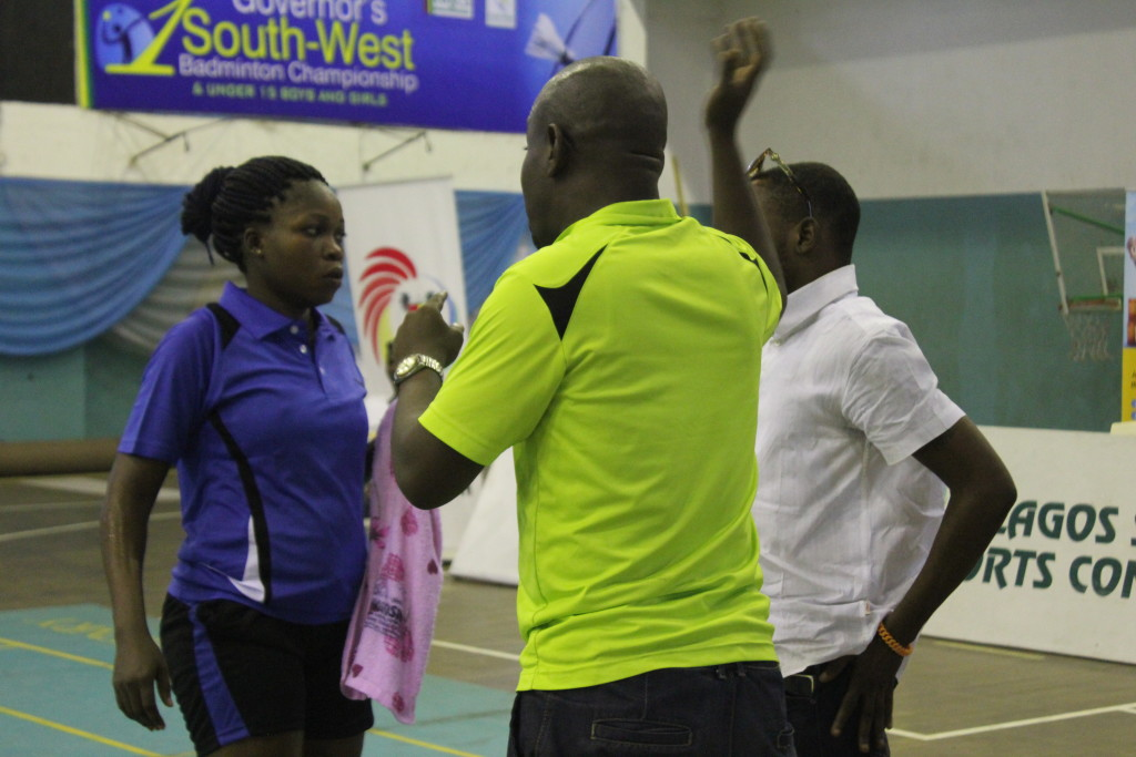 Women's Final: Coaches giving tactical instructions to Tosin...